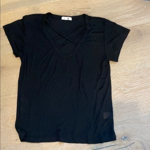 LNA criss cross black T-shirt